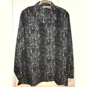 Piano Snake Print Tunic Shirt, Size 2X